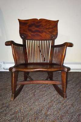 Antique Spindle-Back Dark Solid Wood Rocking Chair - $85 /bo