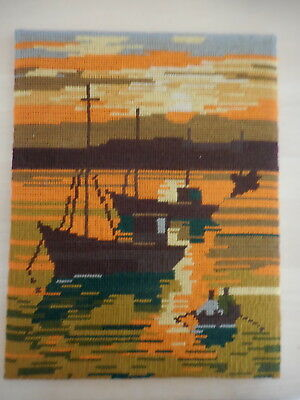 Vintage Tapestry Boats In Harbour Completed  On Backing &  Unframed