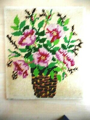 Vintage Tapestry Collection D'art 10.132  Flowers Completed Backing &  Unframed