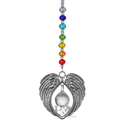 Rainbow Clear Ball Prism Angel Wings Flat Beads Suncatcher Prisms Pendant Hang