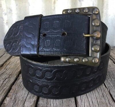 VINTAGE Black TOOLED LEATHER BELT Brass Buckle CHAINLINK PATTERN Boho
