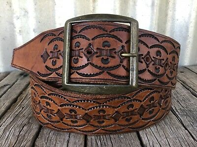 VINTAGE Whisky HAND TOOLED LEATHER BELT Brass Buckle BOHO Festival BOHEMIAN