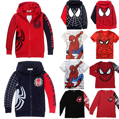 Children Kids Boy Spiderman T-Shirt Top Hooded Sweatshirt Zip Hoodie Jacket Coat