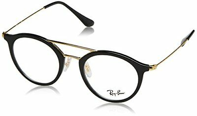 Ray-Ban 7097, Montature Unisex Adulto, Nero (Black/Gold), 47 (G0j)
