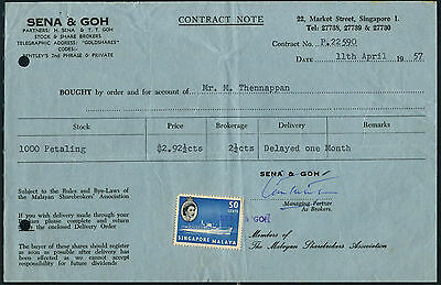 Singapore 50c on 1957 Contract Note for 1000 shares of Petaling