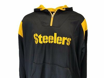 Pittsburgh Steelers NFL Men's Black Hooded 1/4 Zip Fleece Jacket Big & Tall Size