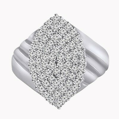 0.82 Ct Diamond Women's Marquise Cluster Engagement Ring 14K Solid White Gold