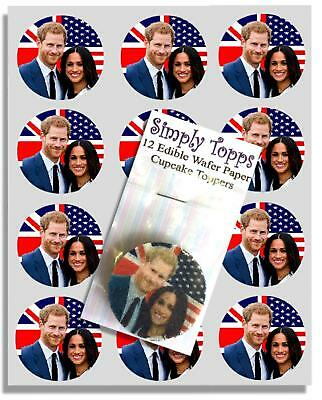 12 Harry & Meghan Cupcake Decoration Edible Cake Toppers Cut 40mm Royal Wedding
