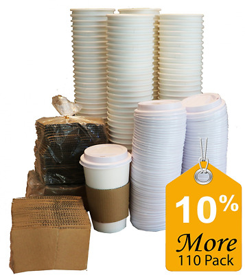 Sugarman Creations Paper Coffee Hot Cups with Lids and Sleeves, 16-Ounce White (