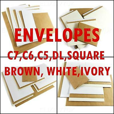 C5 C6 C7 Dl Plain White Brown Envelopes Small Large A7 Paper 4 Card Craft Making