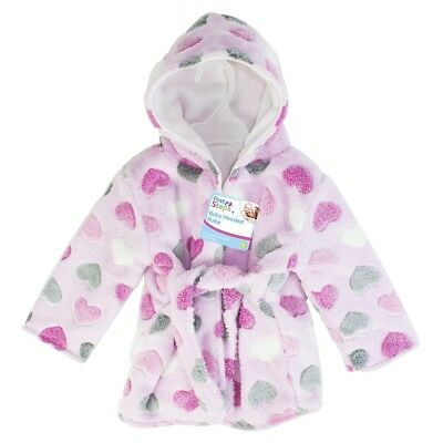 """""""First Steps"""" Baby Dressing Gown With Hood Soft Cosy Fleece Washable Bath and Be"""