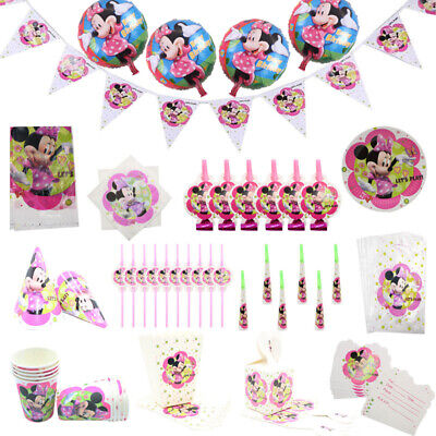 Kids Minnie Mouse Birthday Party Supplies Favor Tableware Decor Plates Banner