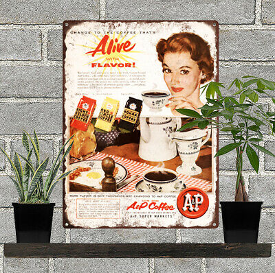 """1955 A&P Grocery Coffee Blue Onion Kitchen Decor Metal Sign Repro 9x12"""" 60425"""