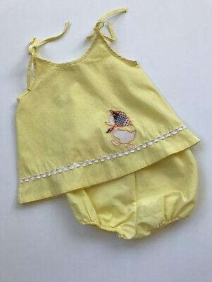Vintage Little Girls Summer Spring Set Outfit Bloomers Toddler Yellow Duck
