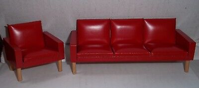 Vintage Miniature Doll House Mid Century Modern Red Vinyl Couch Sofa Chair Retro