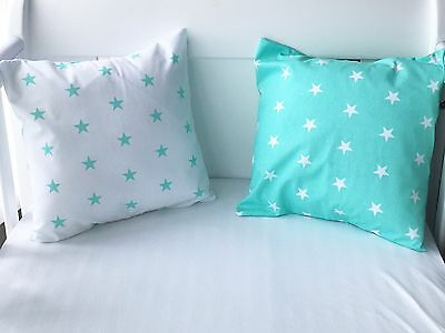 "12"" Handmade White With Mint Green Stars Cushion Cover 🌟💚"