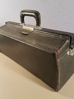 Vintage black leather doctors bag
