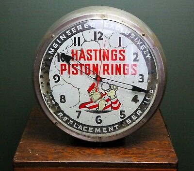 1954 Hastings Piston Rings Advertising Lighted Clock ~ Convict Man Vintage Sign