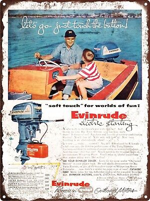 """1955 Evinrude Electric Start Outboard Motor Boat Metal Sign Repro 9x12"""" 60448"""