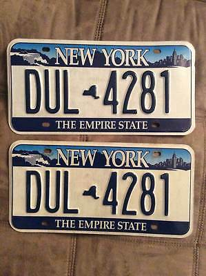 Pair of New York License Plates Set The Empire state Niagara falls, Blue Skyline