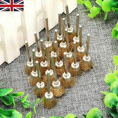 "HQ 20pcs Bowl Shape Brass Wire Brushes 1/8"" Shank Polishing Wheel Rotary Tools"
