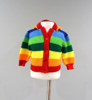 Vintage Sweater Childs Size 12 Months Rainbow Striped Cardigan Boy Girl Hooded