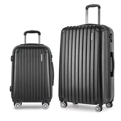 2pc Luggage Suitcase Set TSA Travel Carry On Bag Hard Case Lightweight Black