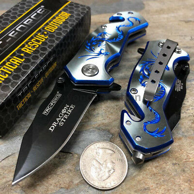 Handy Spring Assisted Dragon Strike Collection Small Gray Pocket Knife TAC-FORCE