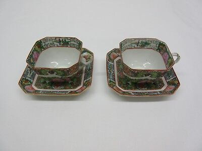 Set of Two Chinese Rose Medallion Porcelain Tea Cups and Saucers