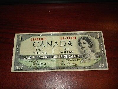 DEVIL's FACE - 1954 - Canada $1 bank note - Canadian one dollar bill - EA1711191