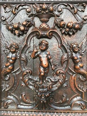 Stunning Renaissance Louis XVI carved panel with cherubs, angels, Putti's