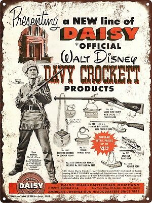 "1955 Walt Disney Davy Crockett Daisy Smoke Riffle Metal Sign Repro 9x12"" 60460"