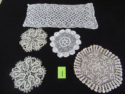 Vintage - Hand Made - Crochet Doilies / Doily x 5 -   Lot 1