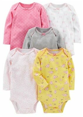 Simple Joys by Carter's Baby Girls 5-Pack Long-Sleeve Bodysuit Size 12 Months