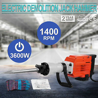 3600W Electric Demolition Jack Hammer Punch Ground Chip Block 2 Chisel Bits