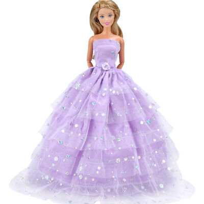 Handmade Doll Purple Wedding Dress Clothes Barbie Doll Party Gown Outfit. AU