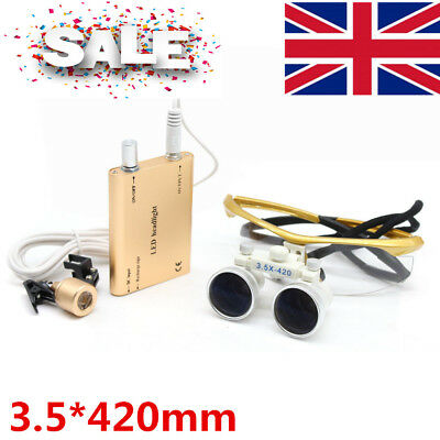 Dental Surgical Binocular Magnifier Loupe 3.5X 420mm Dentist +LED Head Light UK
