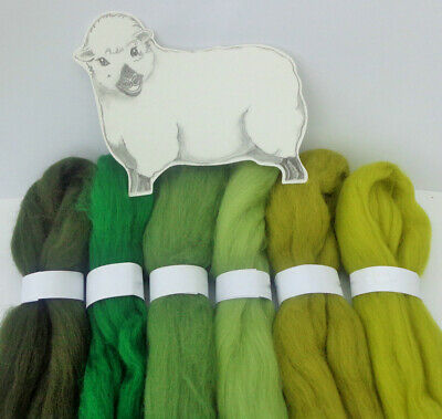 60g Merino Woodland Green Shades Dyed Wool Tops Roving For Mat Needle Felting