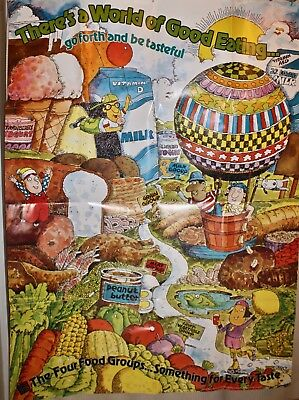 Vintage NATIONAL DAIRY COUNCIL Giant Poster World of Good Eating Be Tasteful