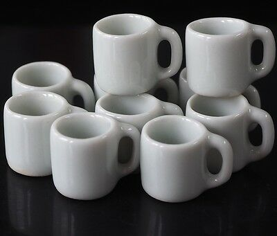 Dollhouse Miniatures 10 White Ceramic Mug Coffee Tea Drink Food Supply Deco 1:12