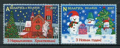 Belarus 2017 MNH Merry Christmas & Happy New Year 2v Set Trees Snowman Stamps