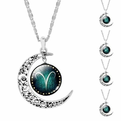 Vintage Jewelry Silver Color  with Zodiac Glass Cabochon Choker Crescent Moon Pe