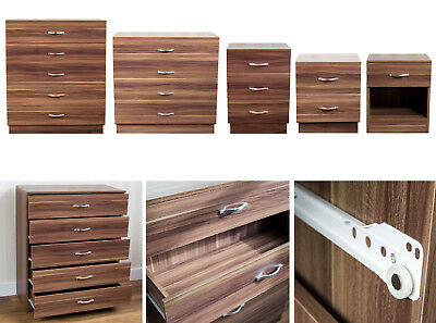 Classic Style Walnut Effects Wooden Bedside Storage Cabinet W/ Drawers & Handles
