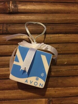 AVON 2005 Ceramic Gift Box Ornament blue with snow flakes Spell Out