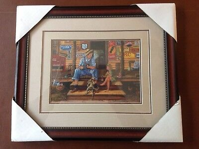 """NEW! Coca Cola """"Store Front with Man,Girl,& Dog"""" Double Matted Framed Print"""