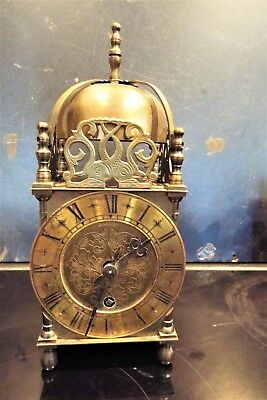A Traditional Brass Lantern Clock timepiece mechanical 8 day French movement
