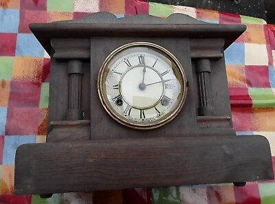 Antique Oak American Mantle Clock