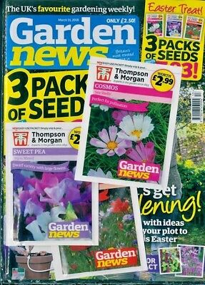 GARDEN NEWS MAGAZINE ISSUE 31st MARCH 2018 WITH 3 x PACKS OF SEEDS ~ NEW ~