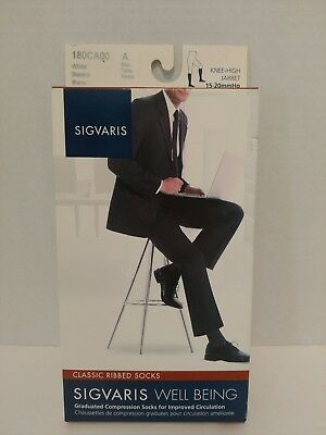 Sigvaris Men's Classic Ribbed Compression Socks Size A White 15-20mmHg 180CA00