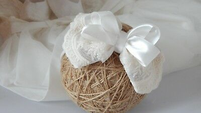 Lace baby bow headband wide lace hair band baptism christening satin beige bow